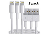 iPhone 5/5C/5S/6/6+ 8 Pin USB Charger Cable 3ft 1M - 3-Pack