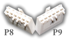 AT Power Supply P8 and P9 connectors